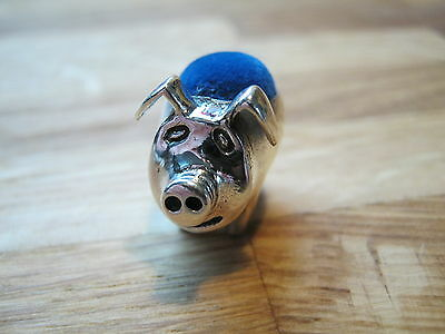 Pretty English Hallmarked Sterling Silver Contemporary Pig Pin Cushion