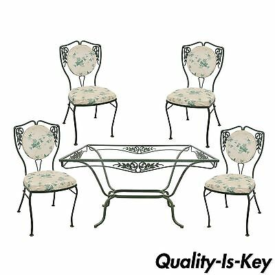 Vintage Salterini Wrought Iron Patio Dining Set Table 4 Chairs Garden Furniture