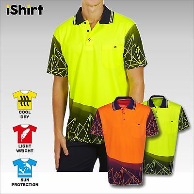 New Hi Vis Polo Shirt Sublimation Cooldry Breathable Tradies Safety Workwear
