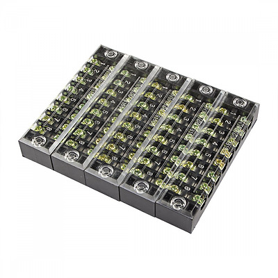 uxcell 5 Pcs 8 Positions Dual Rows 600V 15A Wire Barrier Block Terminal Strip TB