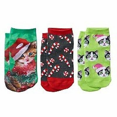 Pink Cookie 3-Pack Girls 4-16 Christmas Kitty Cat Low-Cut Socks Shoe Size 4-10