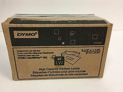 """DYMO High-Capacity Address Labels, 3-1/2"""" x 1-1/8"""", White, 2 x 1050 Labels"""