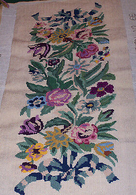 "VINTAGE NEEDLEPOINT,  MINERVA QUEEN ANNE DESIGN No 66, FLORAL DESIGN, 13"" X 32"""