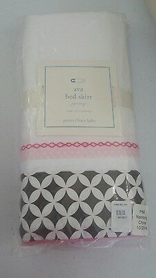 Pottery Barn Kids Baby Pink & Brown AVA MOD Nursery Crib Bed Skirt