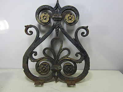Vintage Cast Iron Architectural Salvage Pediment- Scrolling Pattern