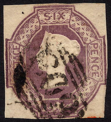 GB QV 1847 6d Purple SG60 Embossed Issue Good Used with 4 Margins (Close)