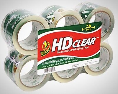 Duck Brand HD Clear High Performance Packaging Tape 3 Inch Crystal Clear 6 x Pcs