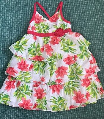 Slightly Used Toddler Girls Summer Dress Tropical Pink Size 3t Super Cute