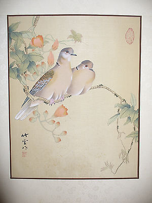 Vintage Chinese Dove Bird Painting on Silk with Chop Marks