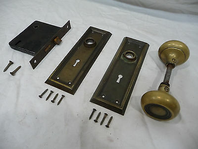 Antique Craftsman Style Complete Door Lockset - C. 1912 Architectural Salvage