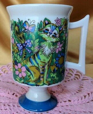 Vintage Retro Cat's Meow by Maria 2744 Footed Coffee Mug Cup Colorful Floral *et