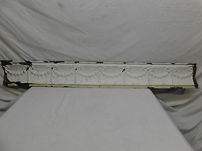"48"" Antique Tin Ceiling Cornice - C. 1890 Ribbon Design Architectural Salvage"