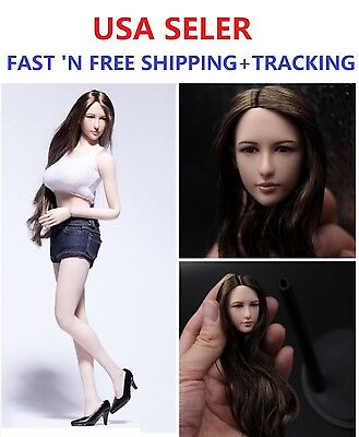 Dreamer 1/6 SCALE Female Head sculpt Long hair for PALE Phicen DR001