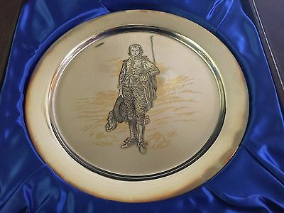 """Danbury Mint Numbered Collector Plate of """"Blue Boy"""" Sterling Silver & 24 kt Gold"""