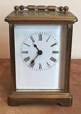 "French Glazed Brass Case Enamelled Face Timepiece Carriage Clock GWO 4""H 3""W"