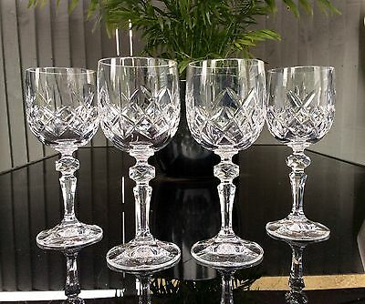 "Beautiful Set Of 4 Bohemia Crystal Cut Glass Wine Glasses.6 3/4"" High.20 CL Size"