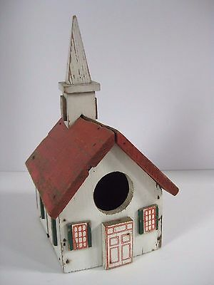 Antique Weathered Primitive Wood Birdhouse Feeder Church w/Steeple Country Decor