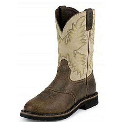 WK4660 Justin Men's Waxy Brown Western Work Boot  NEW