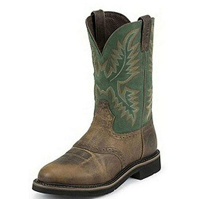 WK4670 Justin Men's Rugged Tan Western Cowboy Boot  NEW