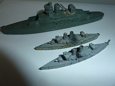 3 x 1940-50's Diecast Toy Ships War Ships Crescent Dinky Meccano