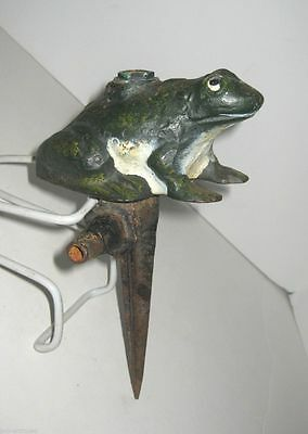Antique Cast Iron Frog Figural Lawn Garden Water Sprinkler