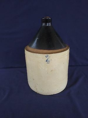 Antique Vintage Pottery Jug Brown Cream Blue No. 2 Primitive Cabin Decor AS IS