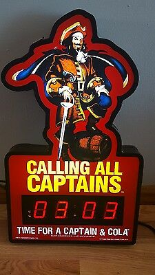 (L@@k) Captain Morgan Rum Light Up Sign Bar Clock Game Room Man Cave Rare