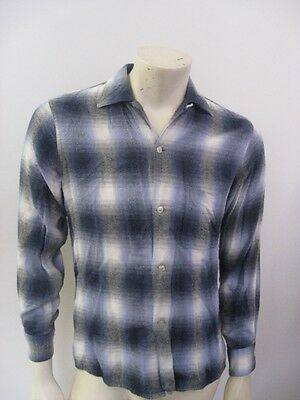 Vintage ARROW CHEVELLA Rayon Shadow Plaid Shirt Size SMALL 14-14.5