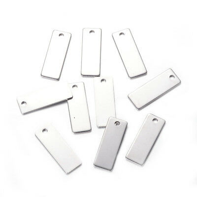 10pcs 304 Stainless Steel Tag Pendants Rectangle Stamping Blanks Charms 25x9mm