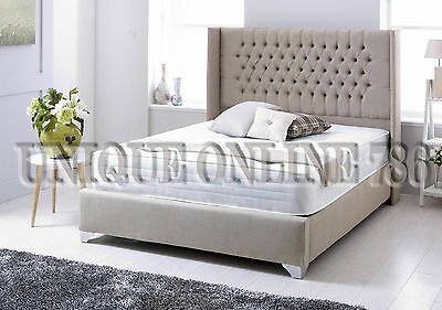 New Wingback Chesterfield Bed in Linen with Memory Mattress 3FT, 4FT, 4FT6, 5FT