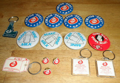 Lot Of 16-Vintage-Milk Advertising Items - Pins-Hat Pins-Key Chains---Real +
