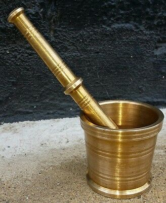 Vintage Solid Brass Mortar And Pestle----Solid And Heavy !!!
