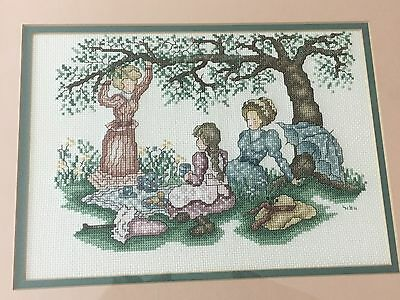 Finished Cross Stitch Picture Framed ~ Victorian Ladies picnicking under a tree