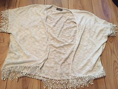Yessica C&A White Lace Trim Cardigan S/m