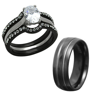 His Hers 4 Pc Black Stainless Steel & Titanium Wedding Engagement Ring Set cl