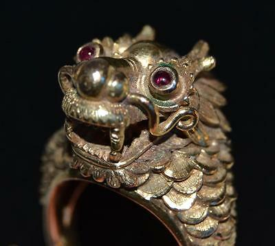 Vintage 1920s Chinese 14K Gold Dragon Ring with Ruby Eyes