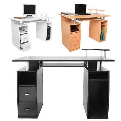 Black White Office Computer Workstation Desk PC Laptop Table with Keyboard Tray