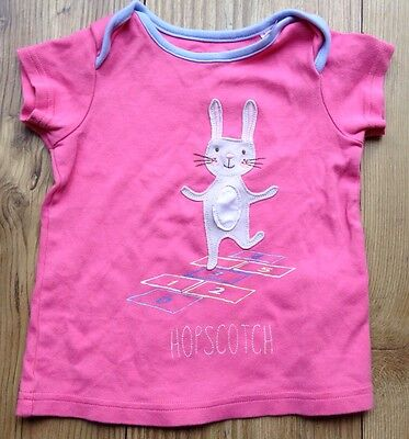 Joules Baby Girl 18-24 Months Pink BUnny Short Sleeved Top T-shirt