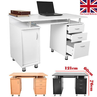 Home Office Modern Computer Desk Workstation with Drawer Shelf Cupboard PC Table