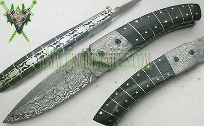 One of kind! Custom hand made beautiful damascus steel folding knife uk-0007011f