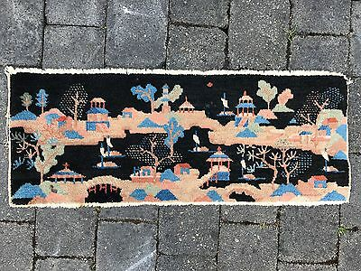 "Chinese Art Deco Rug. Village scene. Circa 1930. 38"" by 15"""