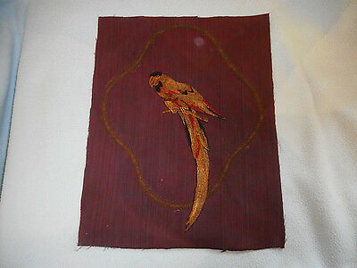 Ref 001 Antique Victorian Embroidery Of Parrot