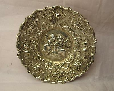 Antique 800 Silver Miniature Repousse Dish With Cupids