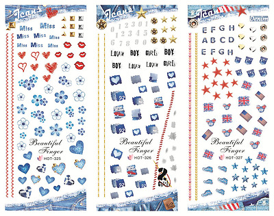 Nail Art Stickers Transfers Decals HOT Series Boy Girl Love Hearts 325-327