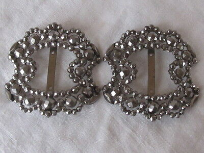 Antique Vintage Pair Steel Cut Shoe Clips Clip Buckles Estate found