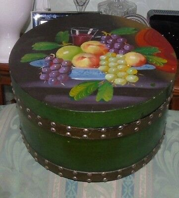 Vintage & Decorative Circular Handpainted Fruit on Lid - HAT / STORAGE BOX