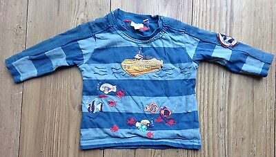 Monsoon Baby Boy 6-12 Months Long Sleeved T Shirt Top Embroidered Blue Fish