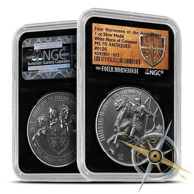 Four Horseman Of The Apocalypse Series - White Horse Of Conquest Silver NGC MS70