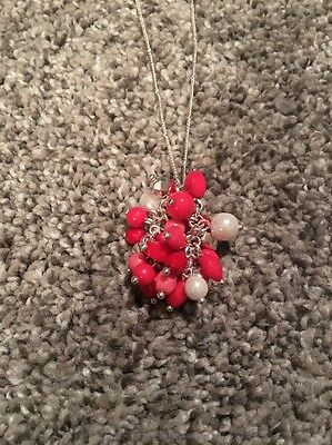 Vera Bradley Confetti Necklace Cheery Blooms NWOT Silver Red Pink White Long