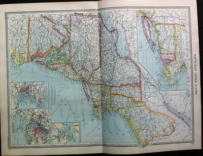 Maps of NORTH EAST & CENTRAL UNITED STATES c1906, 2 Original color maps